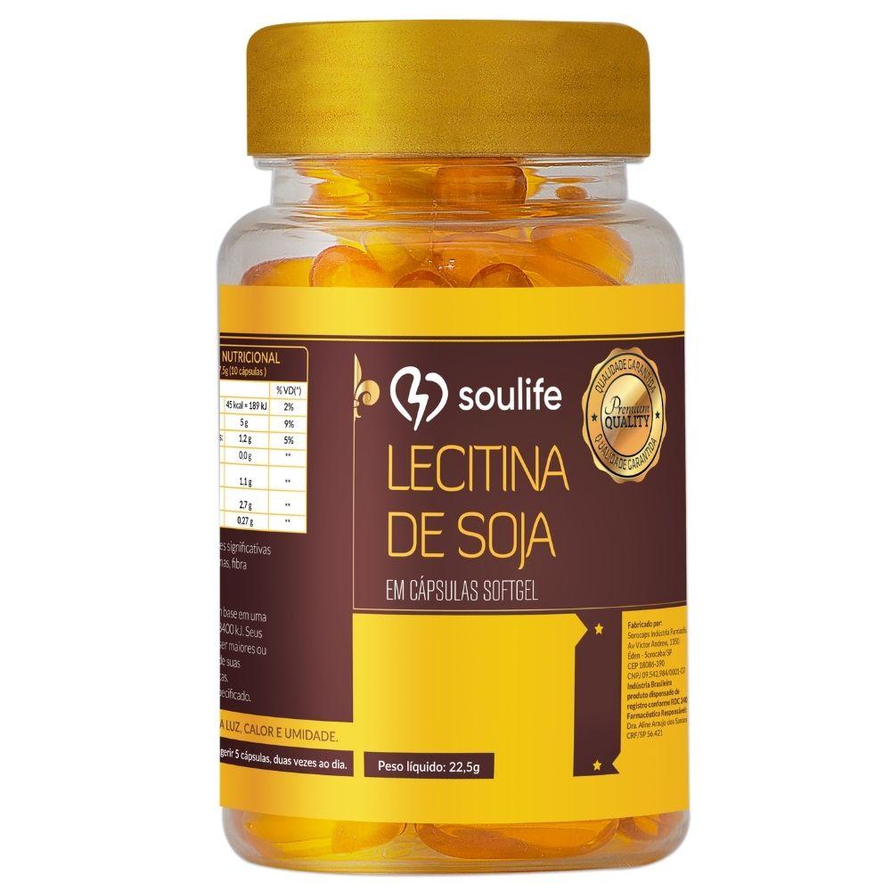 Lecitina de Soja - 90 cápsulas - Controle  do colesterol e emagrecimento - Soulife