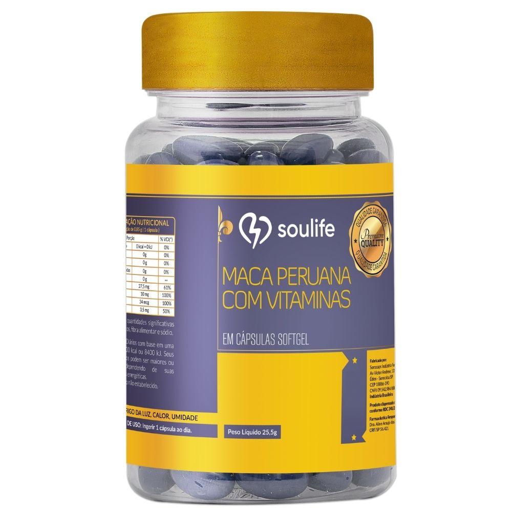 Maca Peruana com Vitaminas e Minerais - 60 cápsulas - Aumento da libido, energia e fertilidade - Soulife