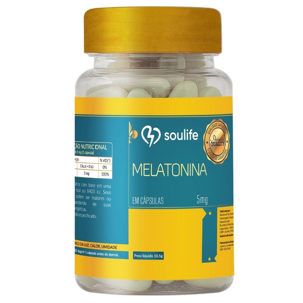Melatonina 5mg - 60 cápsulas - Melhoria do sono - Soulife