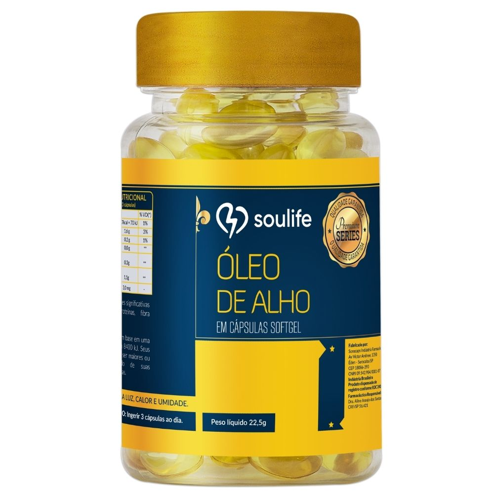 Óleo de Alho - 90 cápsulas - Altamente nutritivo, anti-inflamatório e antioxidante - Soulife