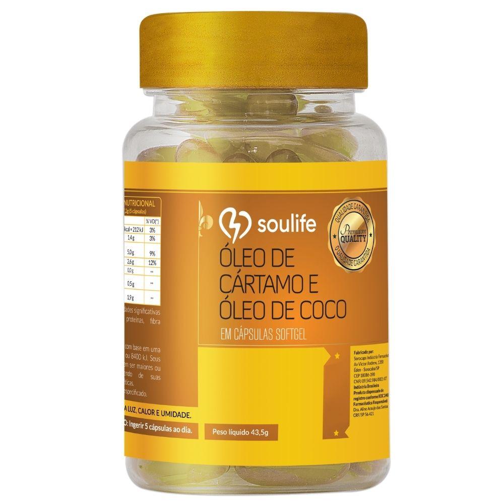 Óleo de Cártamo com Coco - 90 cápsulas - Termogênico e aumento da massa magra - Soulife