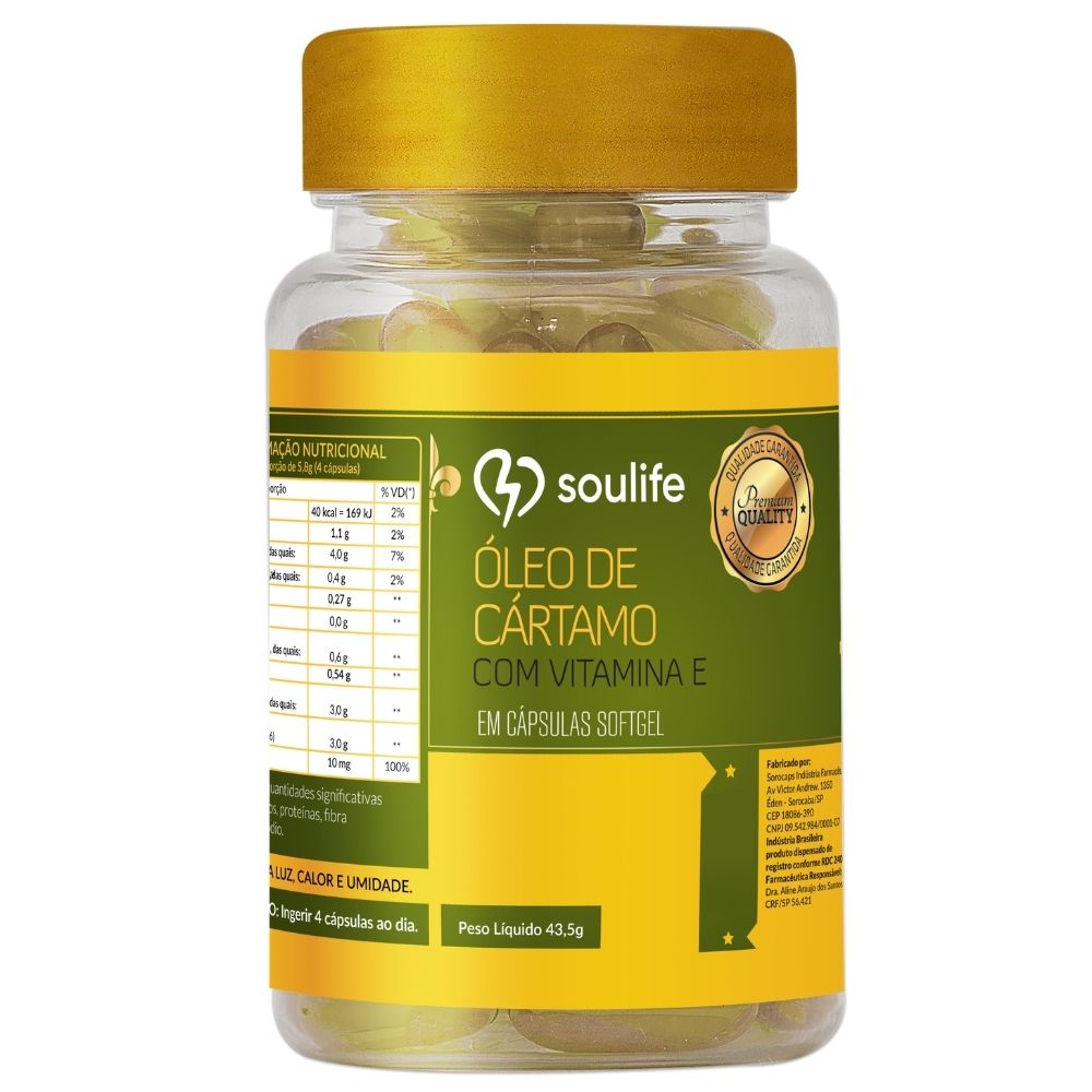 Óleo de Cártamo com Vitamina E - 30 cápsulas - Termogênico e Antioxidante - Soulife