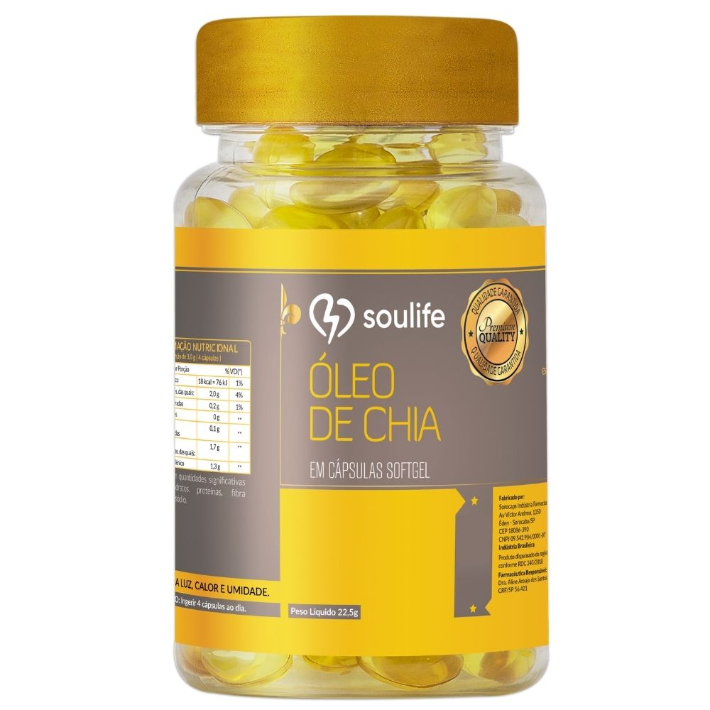 Óleo de Chia - 150 cápsulas - Inibidor de apetite, anti-inflamatório e antioxidante - Soulife  - SOULIFE