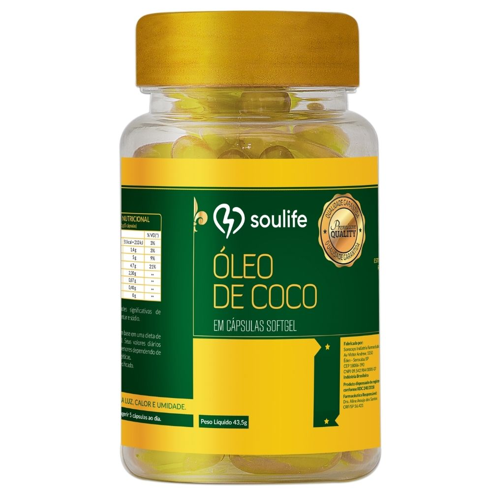 Óleo de Coco - 30 cápsulas - Emagrecimento e aumento de energia - Soulife  - SOULIFE