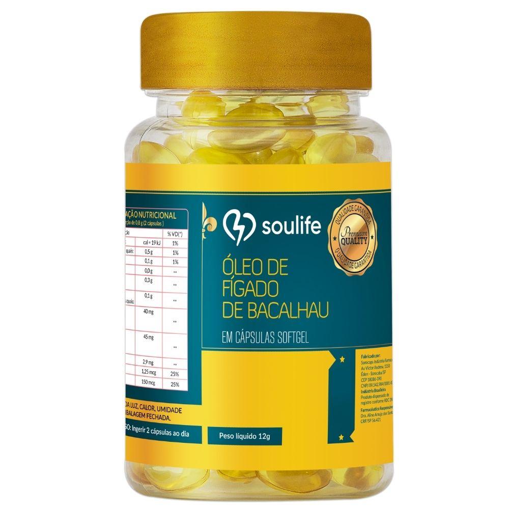 Óleo de Fígado de Bacalhau - 60 cápsulas - Controle do colesterol, saúde dos ossos e da pele - Soulife  - SOULIFE