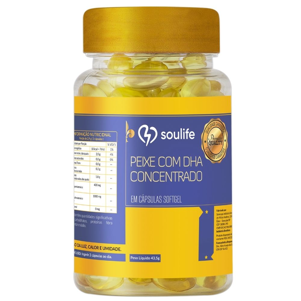Óleo de Peixe com DHA concentrado - 120 cápsulas - Melhoria da memória, controle do colesterol e fortalecimento do sistema imunológico - Soulife
