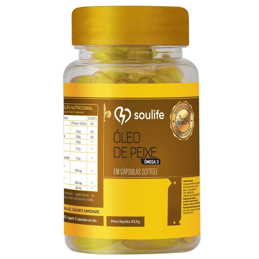 Óleo de Peixe Ômega 3 - Antioxidante, controle do colesterol e fortalecimento do sistema imunológico - Soulife  - SOULIFE