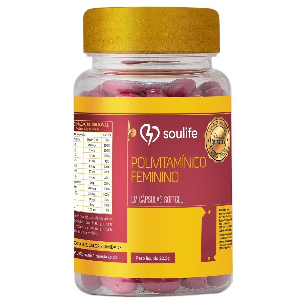 Polivitamínico Feminino - 60 cápsulas - Melhora do metabolismo, produção de colágeno e fortalecimento do sistema imunológico - Soulife  - SOULIFE