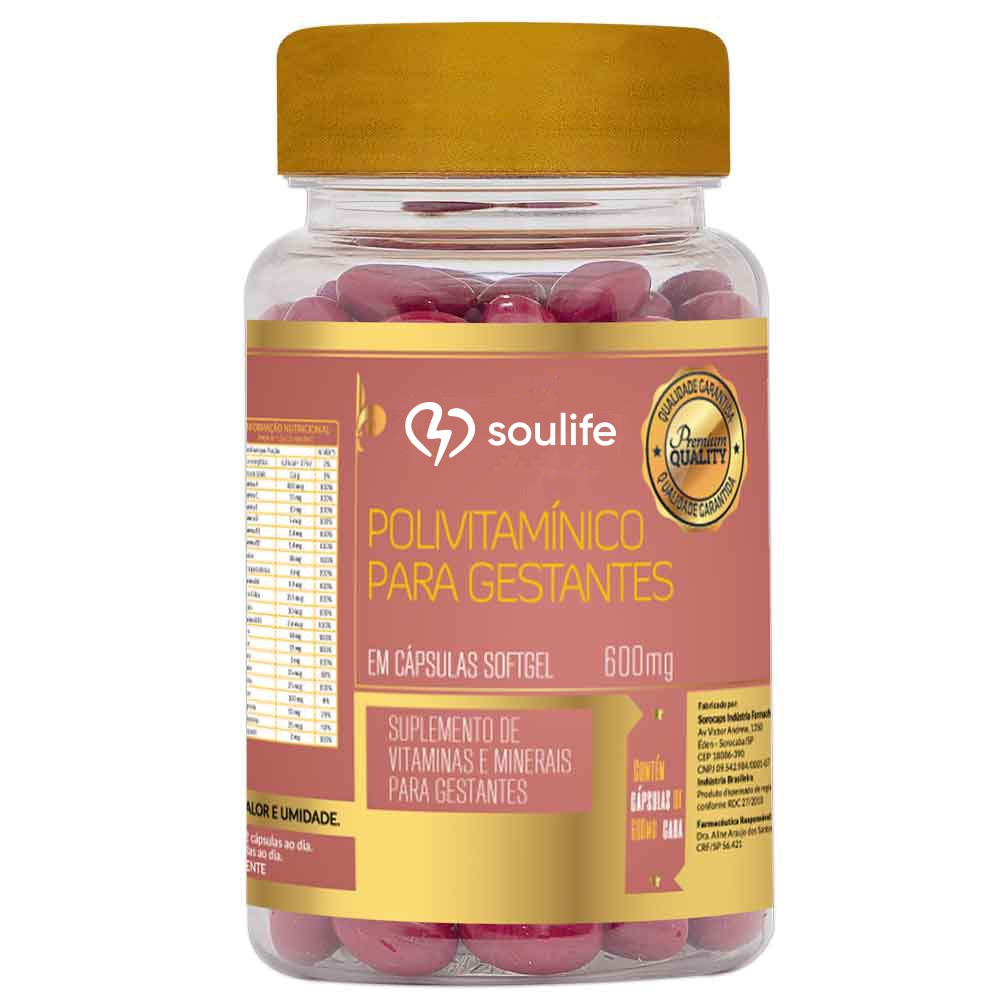 Polivitaminico Gestantes 600mg - Soulife  - SOULIFE