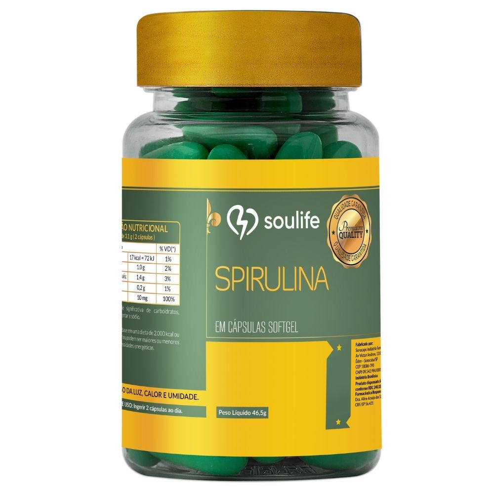 Spirulina - 60 cápsulas - Emagrecimento, antioxidante e fonte de proteínas - Soulife  - SOULIFE