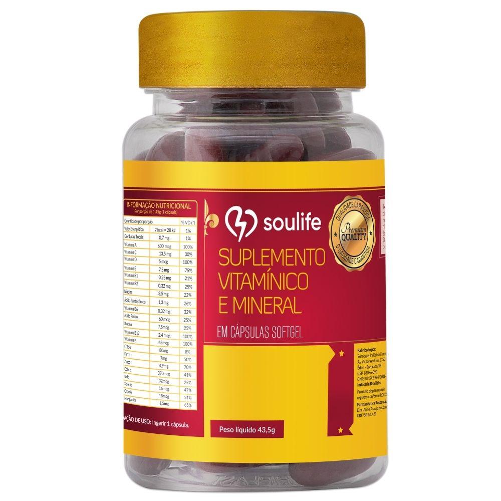 Suplemento Vitamínico e Mineral - 30 cápsulas - Prevenção de doenças e ação antioxidante - Soulife