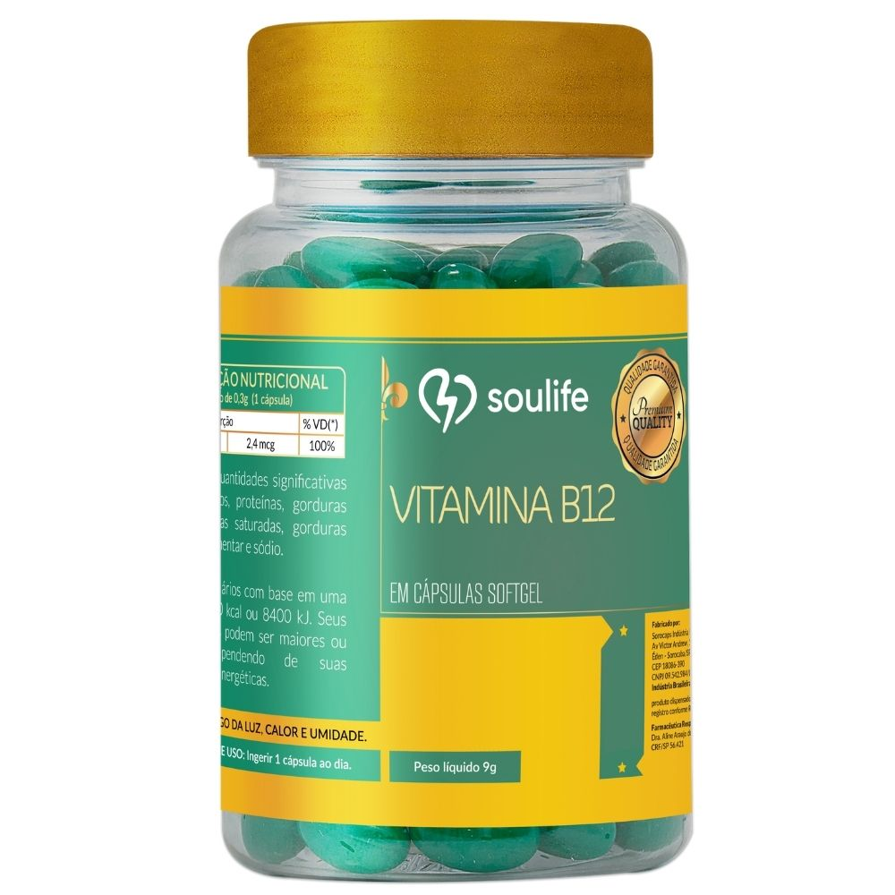 Vitamina B12 - 150 cápsulas - Saúde mental e prevenção da anemia - Soulife