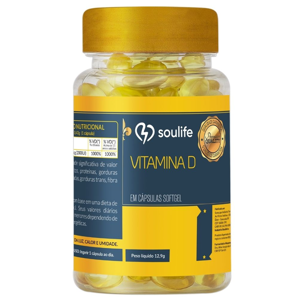 Vitamina D - 30 cápsulas - Fortalecimento dos ossos e sistema imunológico - Soulife