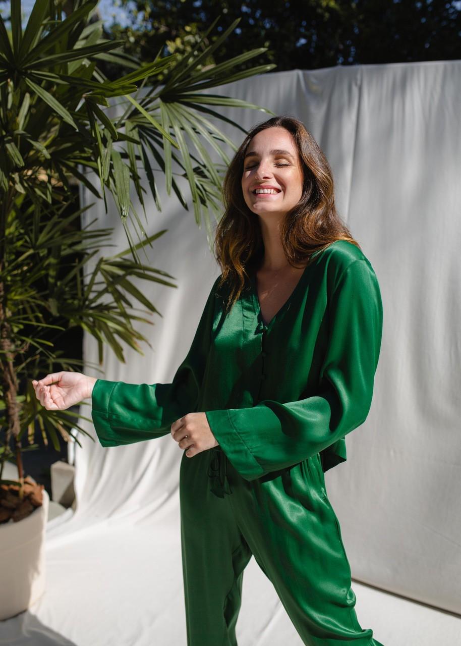 Pijama Noir - Verde Folha/Salmão