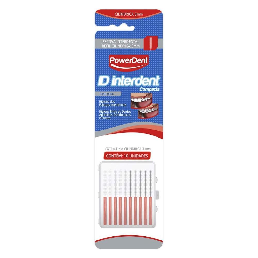Escova Interdental 3mm Compacta Cilíndrica Refil com 10 Unidades Extra Fina Vermelha - POWERDENT  - CD Dental