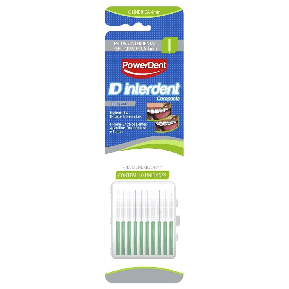 Escova Interdental 4mm Compacta Cilíndrica Refil com 10 Unidades Extra Fina Verde - POWERDENT  - CD Dental