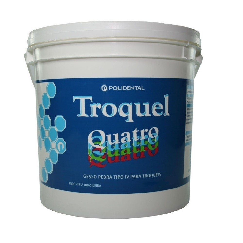 Gesso Pedra Tipo IV Troquel Quatro 1kg - POLIDENTAL  - CD Dental