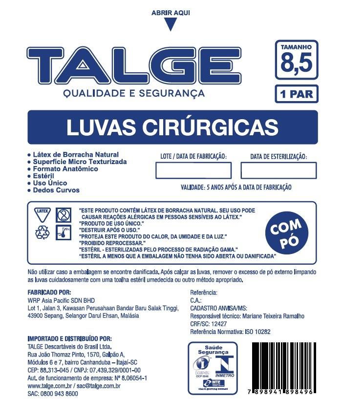 Luva Cirúrgica Estéril Tamanho 8,5 Com Pó - TALGE  - CD Dental