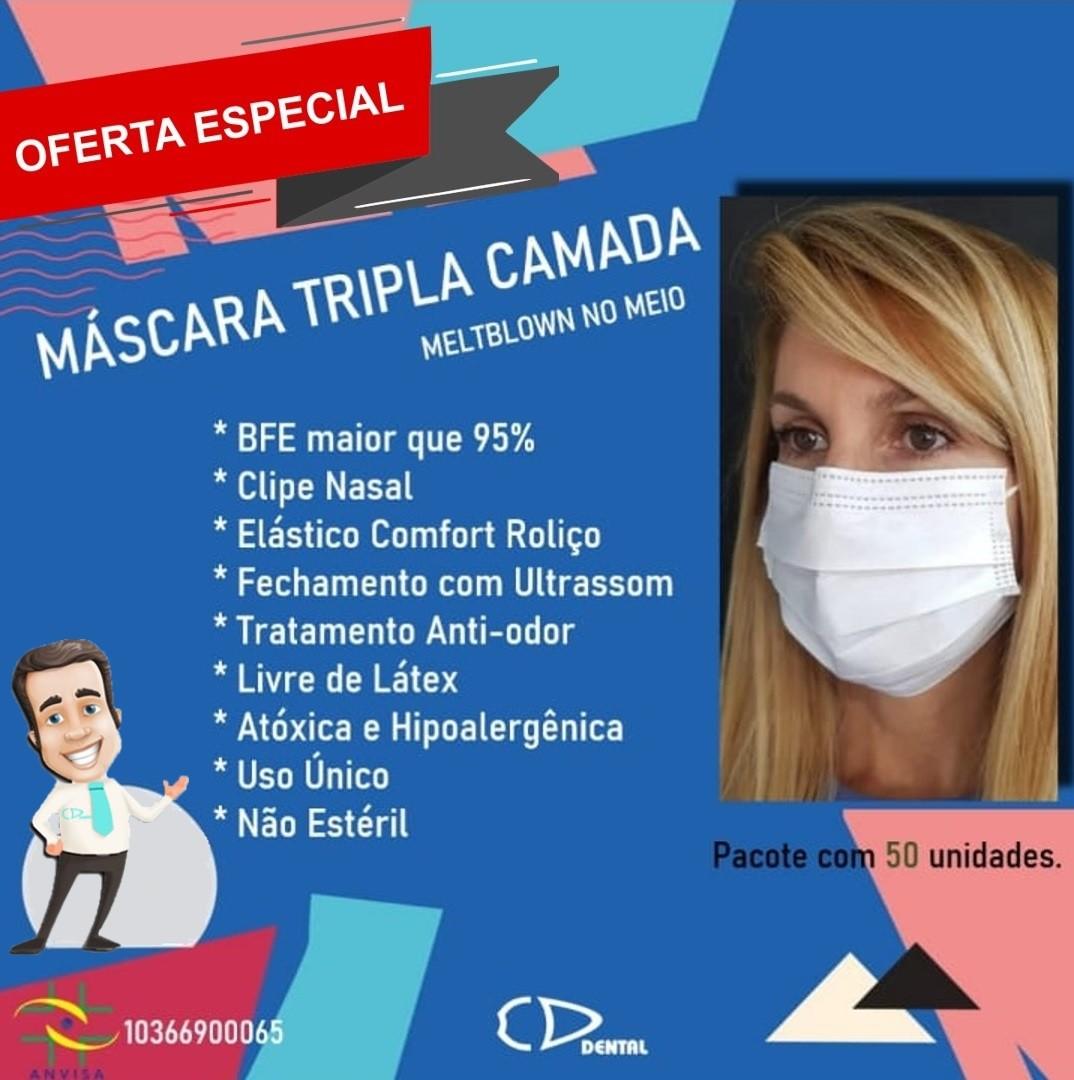 Máscara Cirúrgica Alta Proteção Tripla com Elástico - VENKURI  - CD Dental