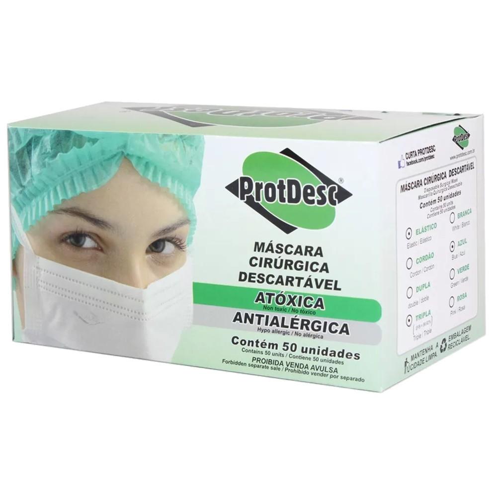 Máscara Tripla c/ Elástico 50 Unidades Rosa - PROTDESC  - CD Dental