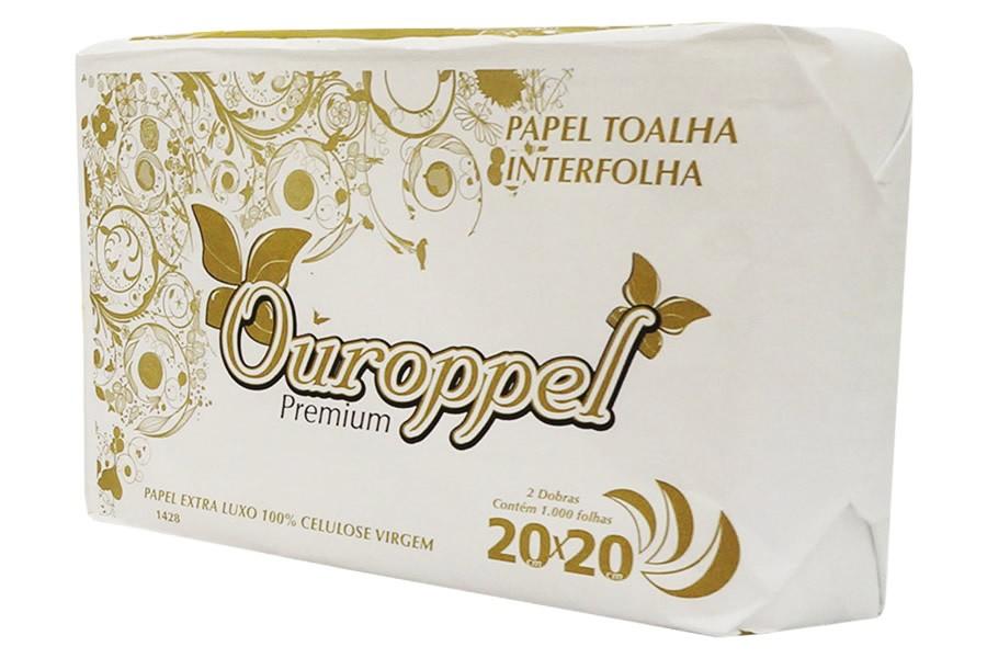 Papel Toalha Interfolha 2 Dobras 20X20cm CX 1000 FL - OUROPPEL  - CD Dental