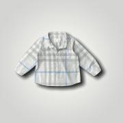 Camisa Xadrez Azul Burberry 18 Meses