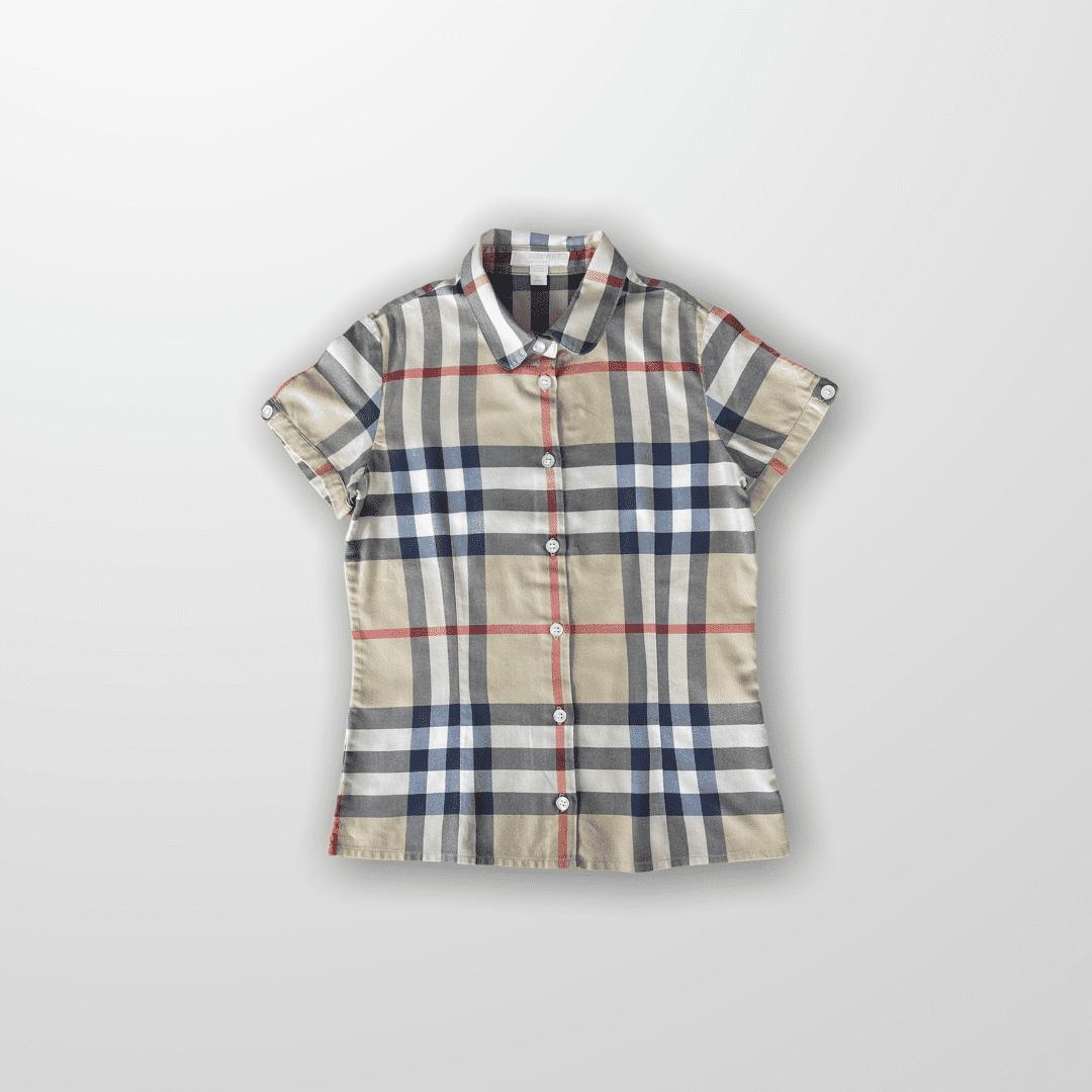 Camisa Burberry Botões Bege  10 anos