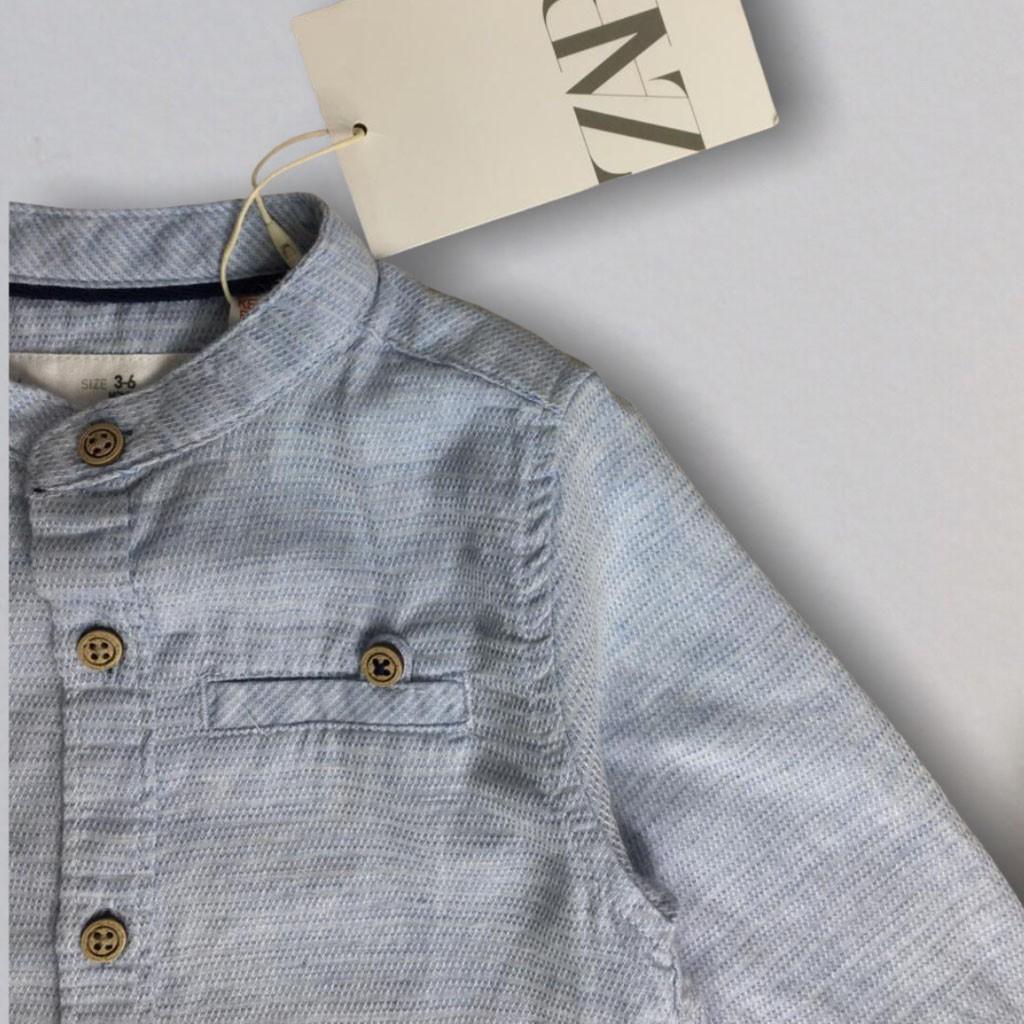 Camisa Linho Azul Zara