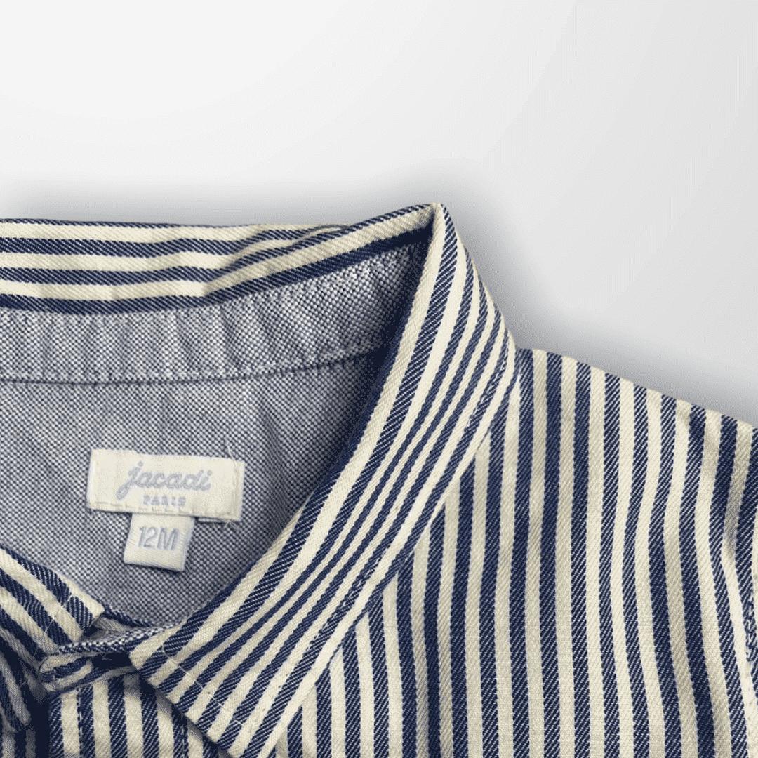 Camisa Listrada Azul Jacadi Paris 12 Meses