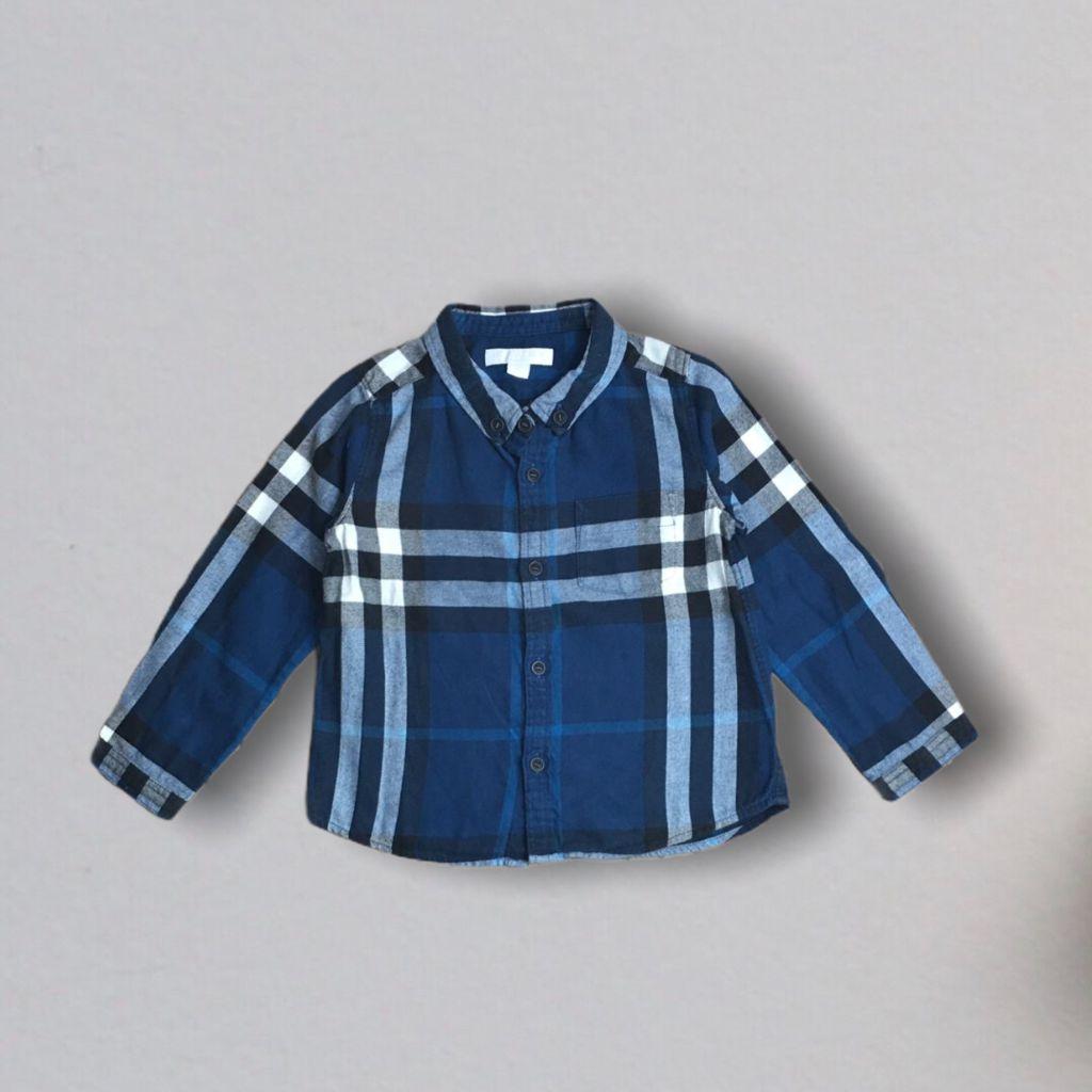 Camisa Xadrez Azul Burberry 3 Anos