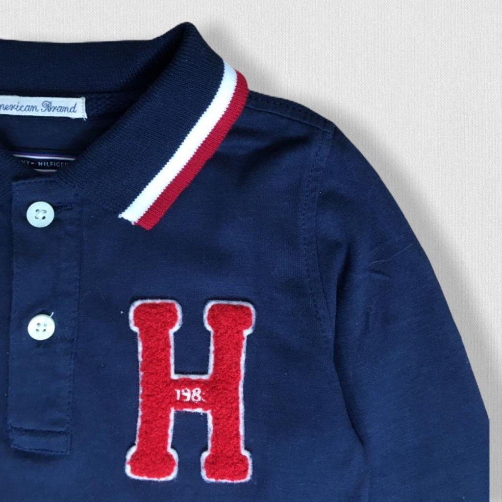 Camiseta Polo Longa Marinho Tommy Hilfiger