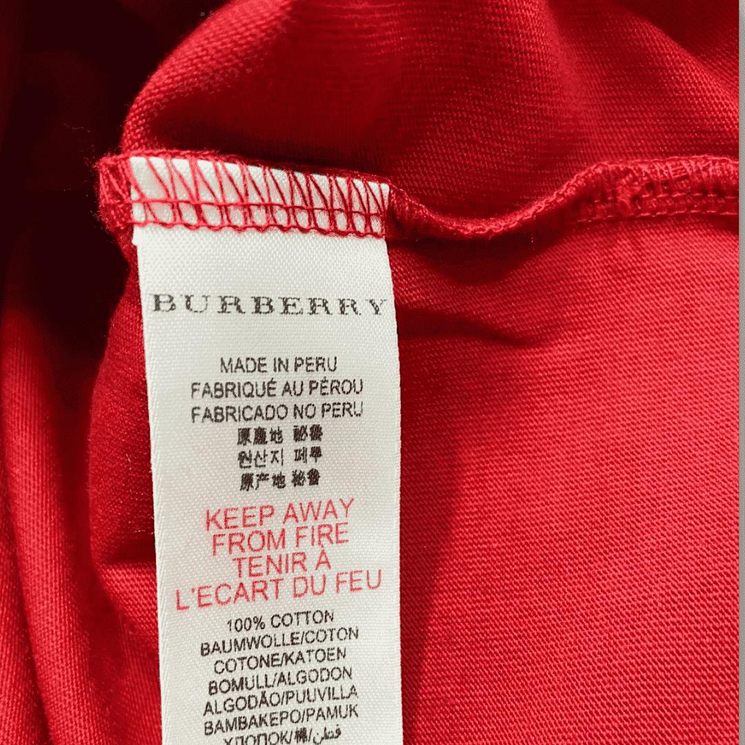Camiseta Vermelha Xadrez Burberry 6 Anos