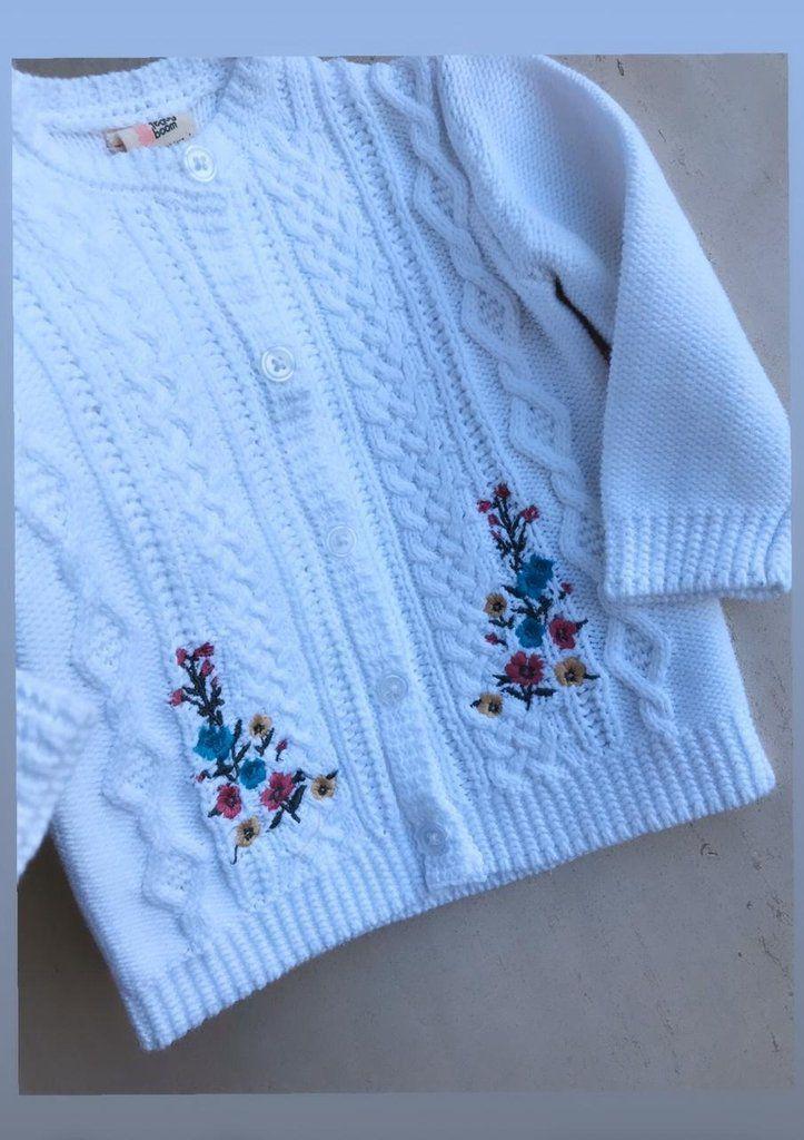 Cardigan Tricot Branco Teddy Boom