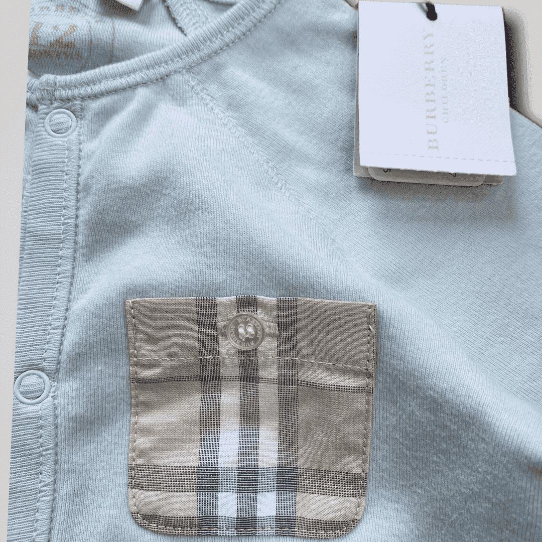 Macacão + Touca Azul Burberry 12 Meses - Novo