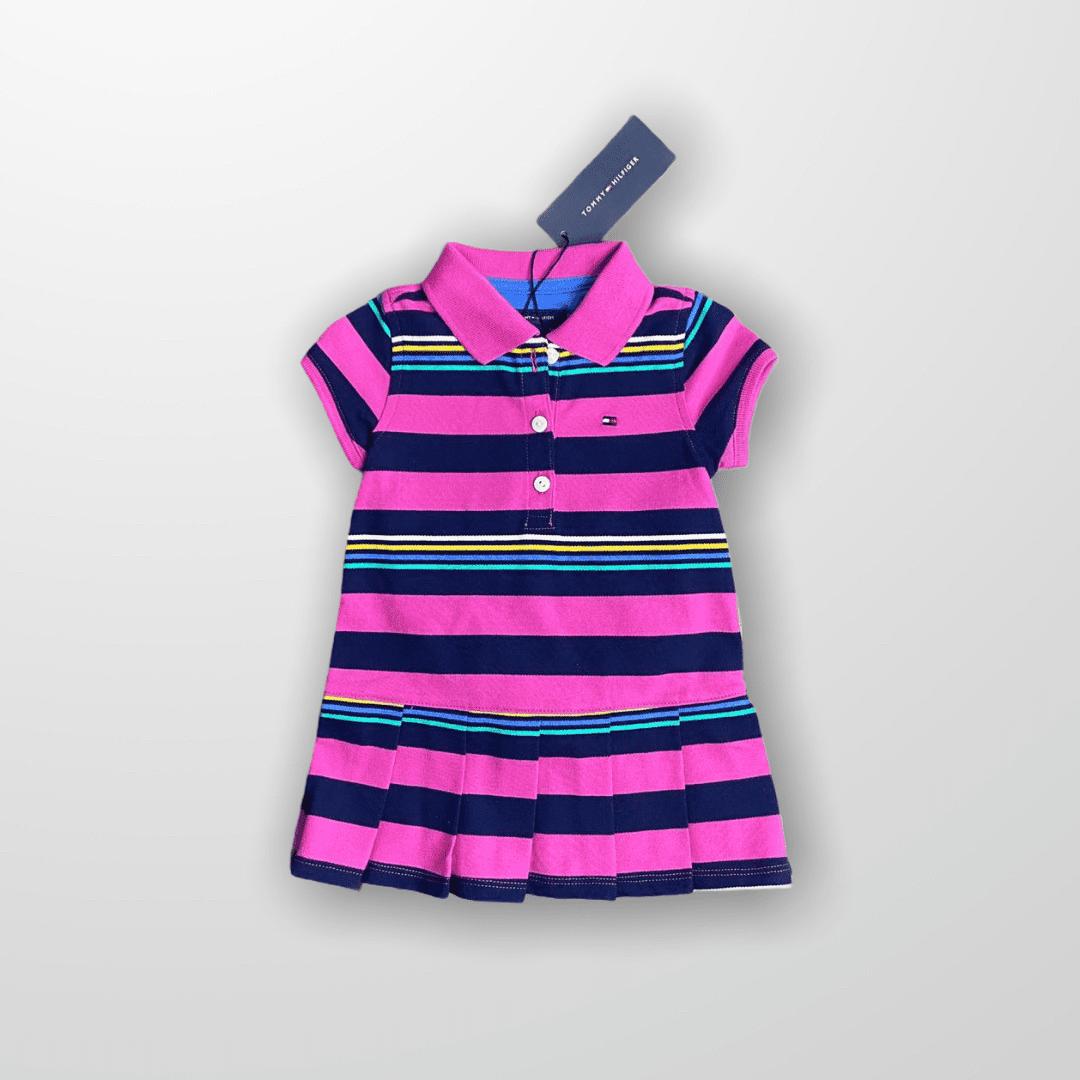 Vestido Polo Listrado Pink Tommy Hilfiger - Novo