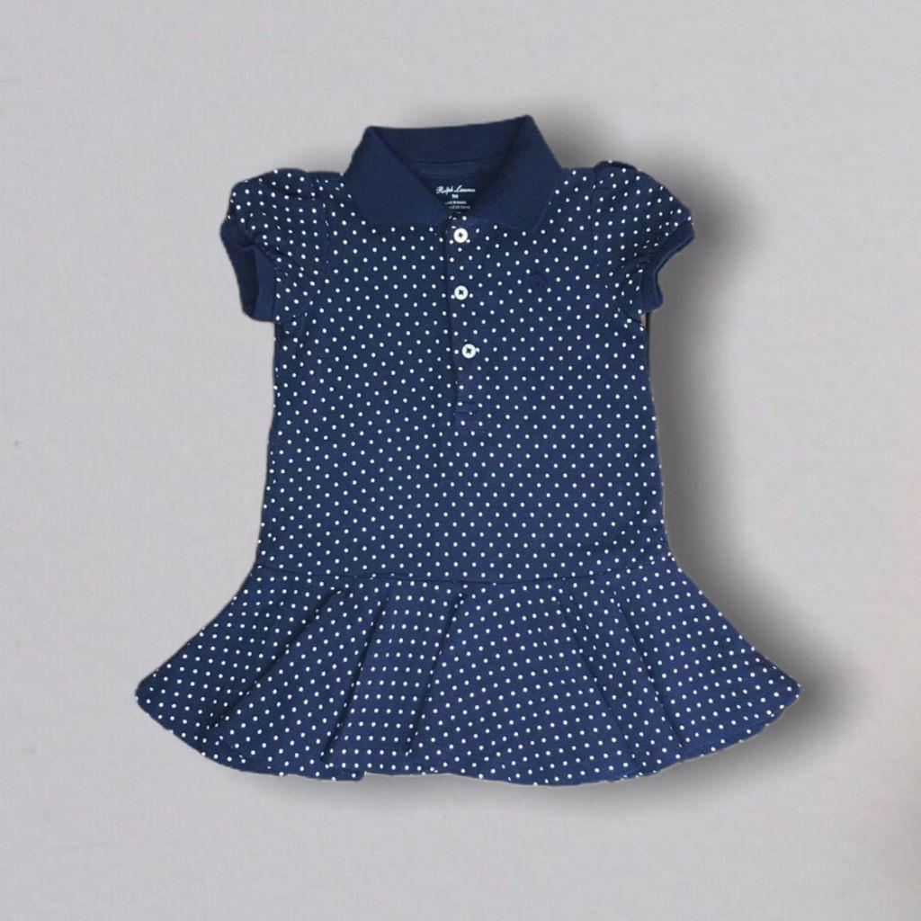 Vestido Polo Marinho Poas Ralph Lauren