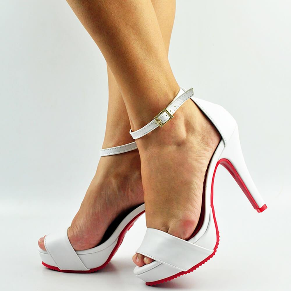 Sandalia Salto Fino Alto Meia Pata