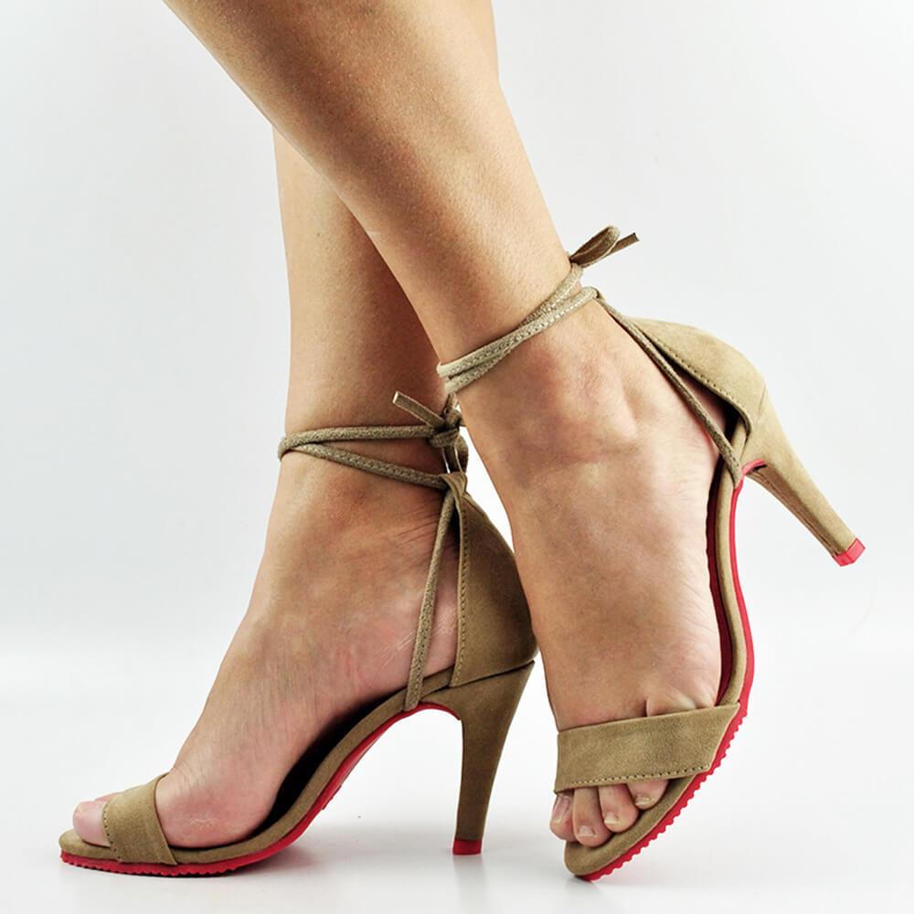 Sandália Salto Fino Médio de Amarrar