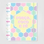 Caderno de Disco Infinito Sistema Inteligente Capa Polaseal Folhas Reposicionáveis - Força, Foco e Fé