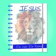 Caderno de Disco Infinito Sistema Inteligente Capa Polaseal Folhas Reposicionáveis - Jesus, Ele vive e Reina