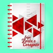 Caderno de Disco Infinito Sistema Inteligente Capa Polaseal Folhas Reposicionáveis - Seja forte e corajoso