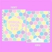 Capa de caderno de disco em polaseal tons pasteis -  Força, foco e fé
