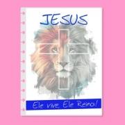 Capa de caderno de disco infinito em polaseal - Sistema inteligente - Jesus, Ele vive e Reina