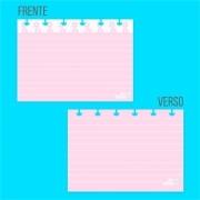 Ficha Pautada de Resumo para Caderno de Disco - Rosa Com Pauta Branca