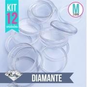 Kit 12 Discos M 24mm de Caderno Infinito Sistema Inteligente Translúcido Liso Amor Infinito - Diamante