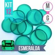Kit 12 Discos M 24mm  ou G 32mm de Caderno Infinito Sistema Inteligente Translúcido Liso Amor Infinito - Esmeralda - Verde