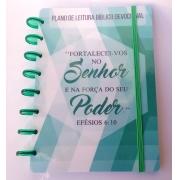 Planner de Leitura Bíblica de Disco Infinito Sistema Inteligente Capa Polaseal Folhas Reposicionáveis Verde ou Lilás