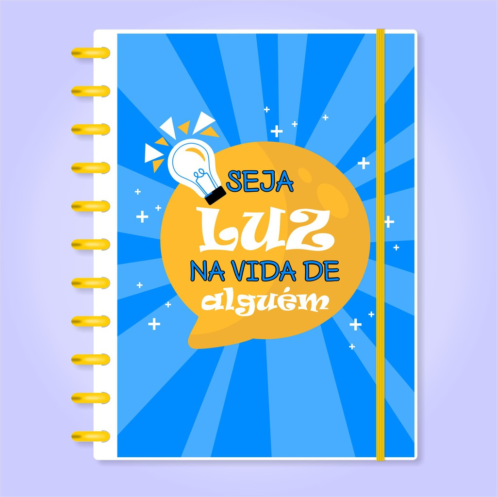 Caderno de Disco Infinito Sistema Inteligente Capa Polaseal Folhas Reposicionáveis - Seja Luz na Vida de Alguém