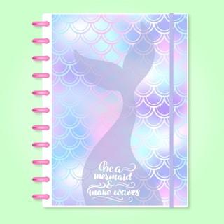 Caderno de Disco Infinito Sistema Inteligente Capa Polaseal - Sereia - Be a Mermaid e Make Waves
