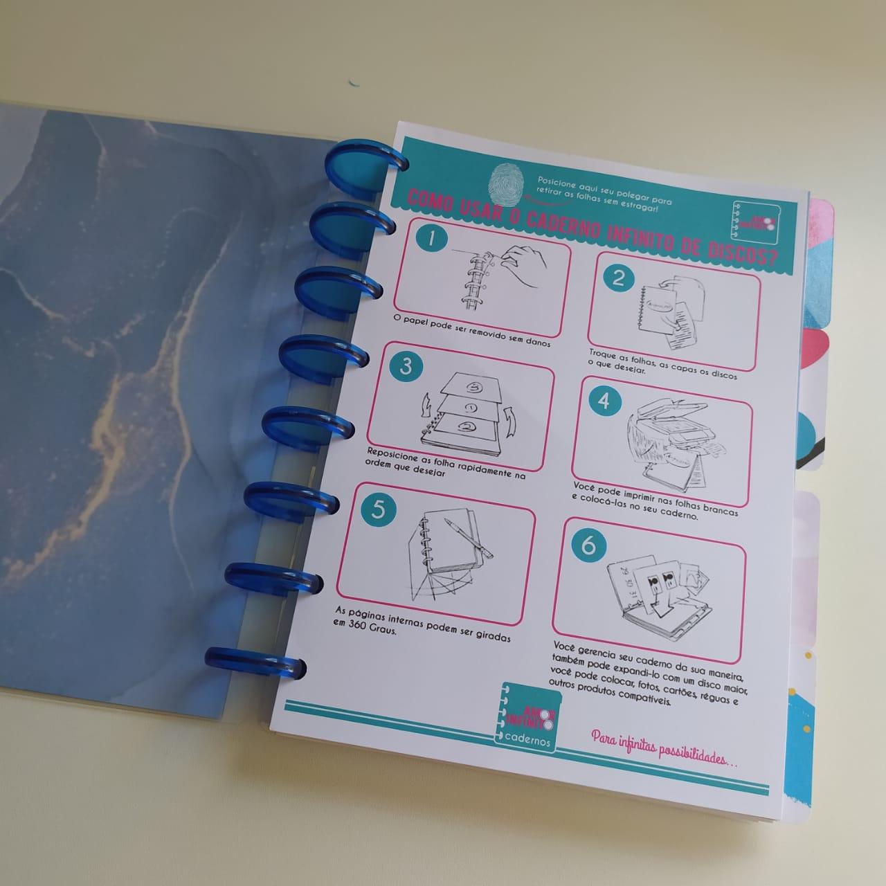Caderno de Disco Infinito Sistema Inteligente - Mármore Preto